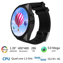 2016 KW88 Android 5.1 Inteligente Reloj Teléfono MTK6580 quad A core 1.3 GHZ ROM 4 GB + RAM 512 MB 1.39 pulgadas 400*400 Pantalla con 2.0MP cámara