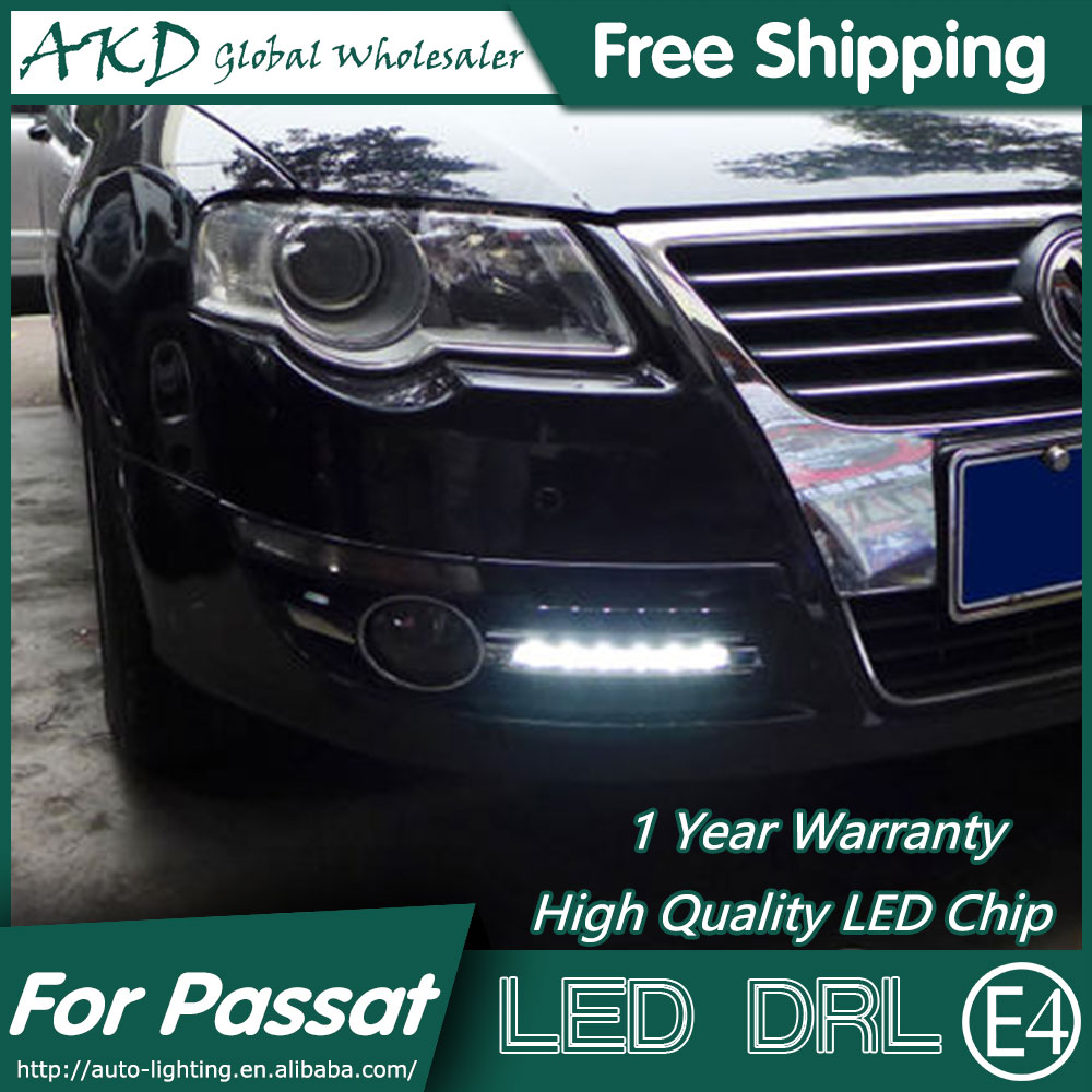 AKD Car Styling for VW Passat DRL 2007-2011 Passat LED DRL Fog Lamp Daytime Running Light Fog Light Signal Parking Accessories 2pcs set drl car daytime running light for vw volkswagen passat b6 2007 2008 2009 2010 2011 fog lamp car styling free shipping