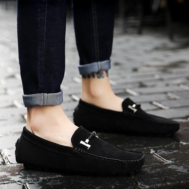 Весенняя новая кожаная мужская обувь в горошек мужская кожаная обувь с мягкой подошвой и ручной строчкой кожаная мужская обувь для вождения - 4