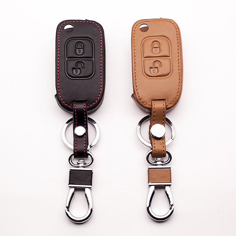 For Mercedes Benz E113 A C E S D05 W202 W203 W168 classic design Genuine Leather Car Key Case Cover 2 buttons shell starline a91 image