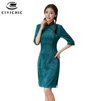 CIVICHIC High Grade Woman Corduroy Traditional Chinese Cheongsam Autumn Velvet Dress Solid Vintage Elegant Qipao Vestidos