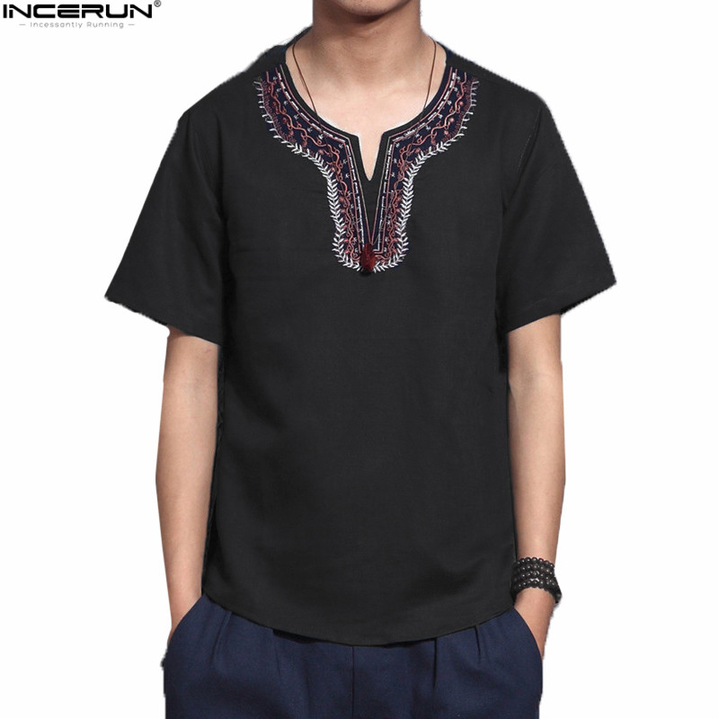 INCERUN Cotton Social Men Shirts Chinese Culture Mens Shirt Loose Short Sleeve V-neck Sh ...