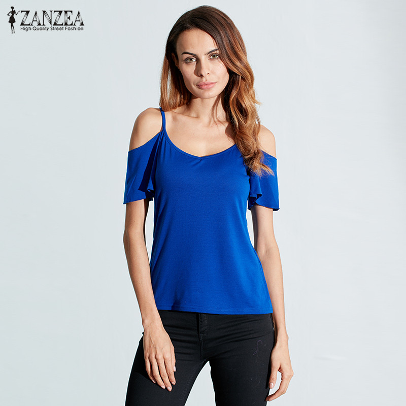 ZANZEA Summer 2018 Fashion T Shirt Women Casual Stretch Tops Tees Sexy V Neck Short Sleeve Off Shoulder Solid T-shirt Blusas