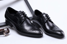 QYFCIOUFU New Classic Men Dress Shoes Fashion Man Genuine Leather Wedding Shoes Luxury Brand Male Oxfords Flat Brogue Shoes