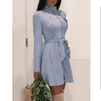 Suede leather dress women long sleeve belted dress autumn 2018 fashion faux suede leather dresses Elegant party dress vestidos
