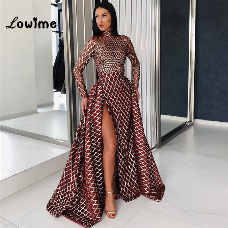 Hot Sexy   Evening     Dresses   Robe De Soiree 2018 New Custom High Split Side Long Sleeves Prom   Dress   Abendkleider Cheap Party Gowns