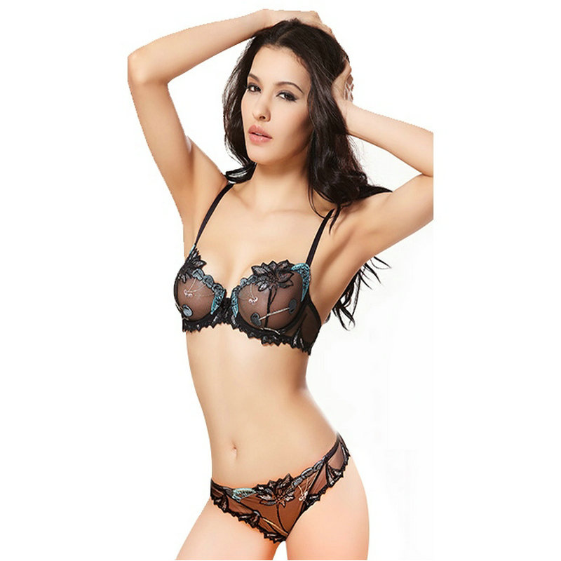 Sexy Embroidery Lace Transparent   Bras     Set   Women's Ultrathin Lingerie   Set   Push Up   Bra     Brief     Set   Everyday   Bras   Underwear