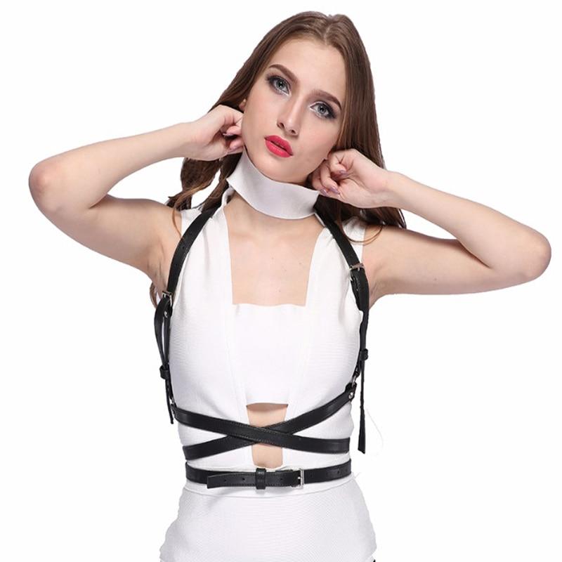 Gothic Suspender Women Leather Harness Sexy Punk Cross Sculpting Body Waist Belt 100 handmade female belts
