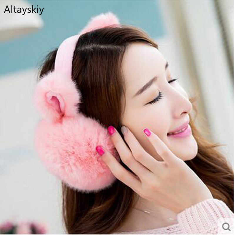 Earmuffs Women Cat Ears Cute Harajuku Plus Velvet Warm All-match Korean Style Kawaii Cotton Plush Womens Earmuff High Quality