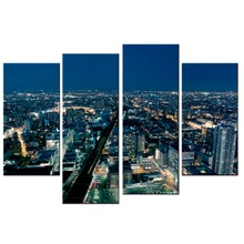 4 Panels/Set For Living Room City night view Modular Paintings On The Wall Art Decor Vintage Posters