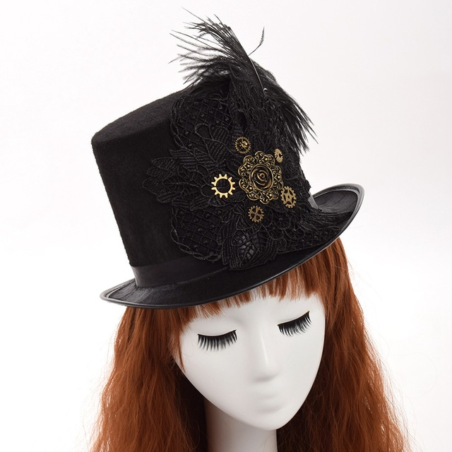 87ac00ae2b4 Men Vintage Steampunk Fedora Gear Lace Top Hat Gothic Victorian Unisex Party  Black Hat