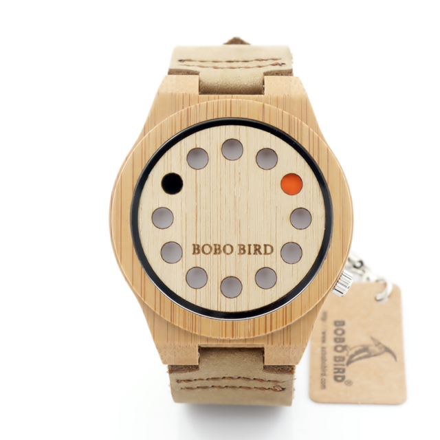 BOBO BIRD A04 Top Brand Design 12 Holes Red Black Pointer Bamboo Wood Quartz Watches With White Real Leather Straps