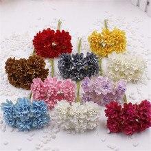 12 шт./лот мини шелковая искусственная Роза свадебное оформление букета Бумага цветок для DIY Скрапбукинг цветок мяч дешевые цветы