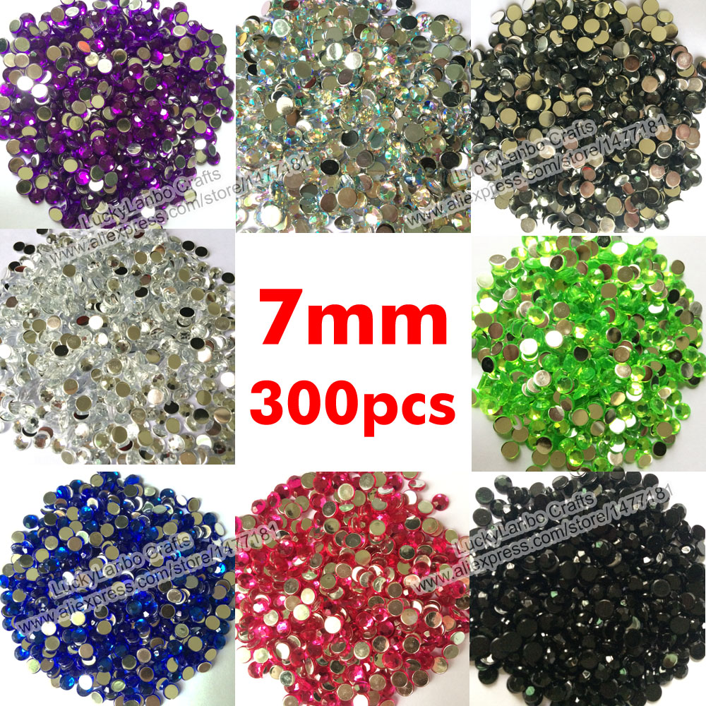 Rhinestone jewels for crafts - 300pcs 7mm Flat Back Acrylic Rhinestone Gems Diamond Resin Beads Diamante Crystals Wedding Party Table Confetti