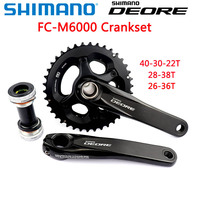 shimano DEORE FC M6000 HOLLOWTECH II Crankset M6000 2x10 3x10 Speed Crankset with BB52 40 30 22T 28 38T 170MM mtb Bicycle Parts