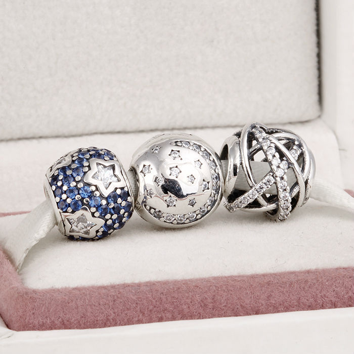 Fits Pandora Charms Bracelet and Necklace 925 Sterling Silver Charm Sets Moon Star Crystal Pave Beads Women Design Drop Shipping цена