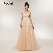 Neue Ankunft 2018 Abendkleider lange V-Ausschnitt A-Line Tulle Applique Perlen Champagne Abendkleid Party Kleid Robe de Soiree RE3