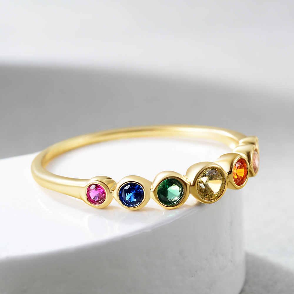 E 925 ayar gümüş gökkuşağı taşlar yüzük kadınlar için 14K altın kaplama gümüş takı yüzük renk kübik zirkonya alyanslar