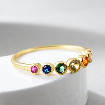 E Rainbow Color CZ Finger Rings for Women Stackable Ring Wedding Statement Real Sterling Silver 925 Jewelry 14K Gold Plated 4