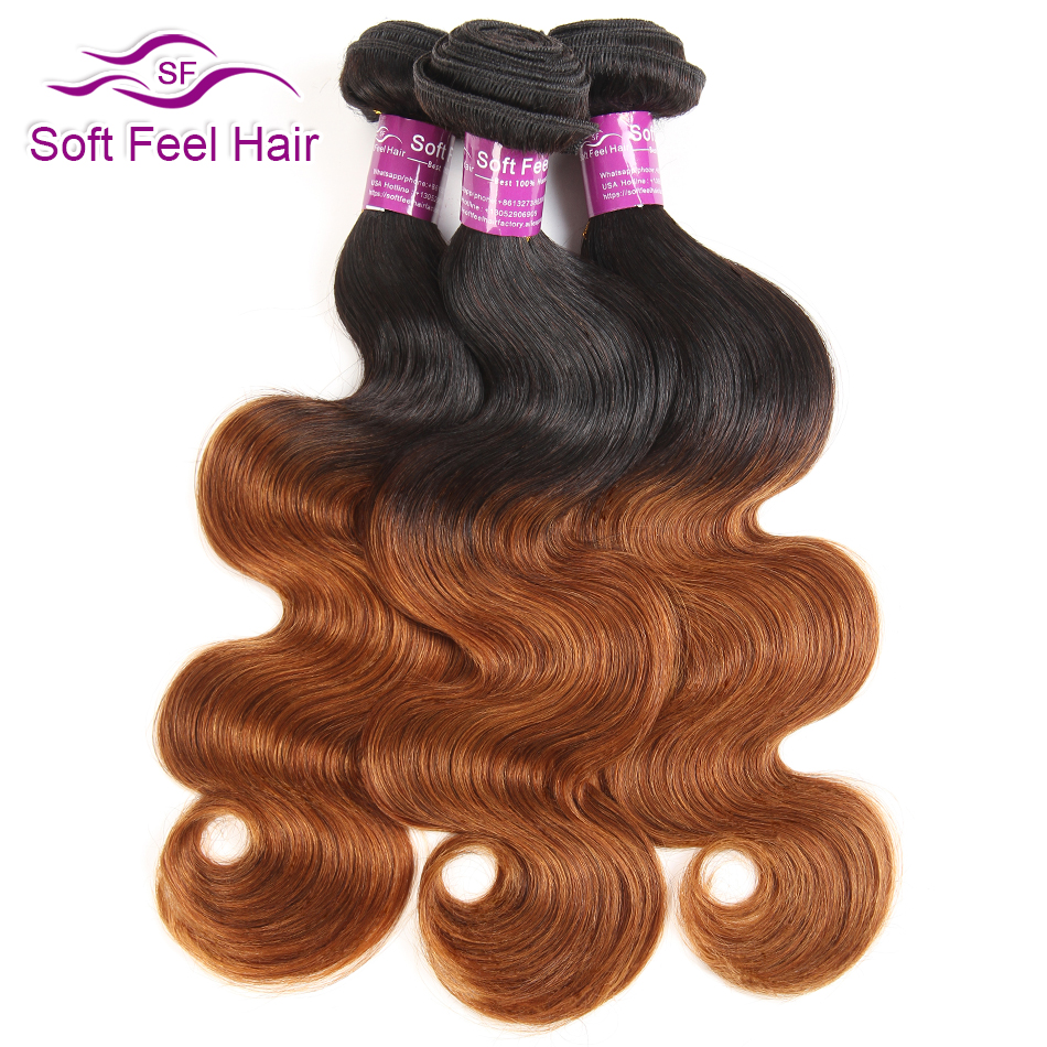 Soft Feel Hair Ombre Malaysian Body Wave Hair Bundles 1B 30 Brown Remy Hair Extension Human