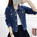 2017 spring and summer new women's denim jacket female students loose short thin short jacket jacket bf wind hole  XY2023