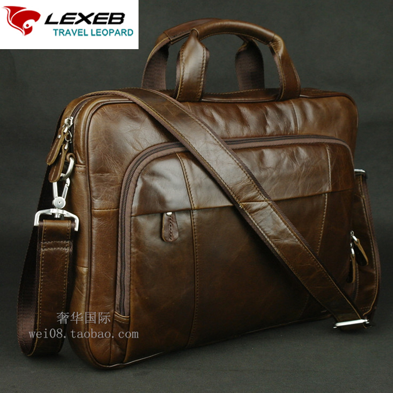 LEXEB Brand Full Grain Cow Leather Men's Briefcase High Quality Laptop Bag 15.6 Handbag Casual Office Bags For Men Coffee lexeb brand lawyer briefcase vintage crazy horse leather men laptop bag 15 inches high quality office bags 42cm length brown