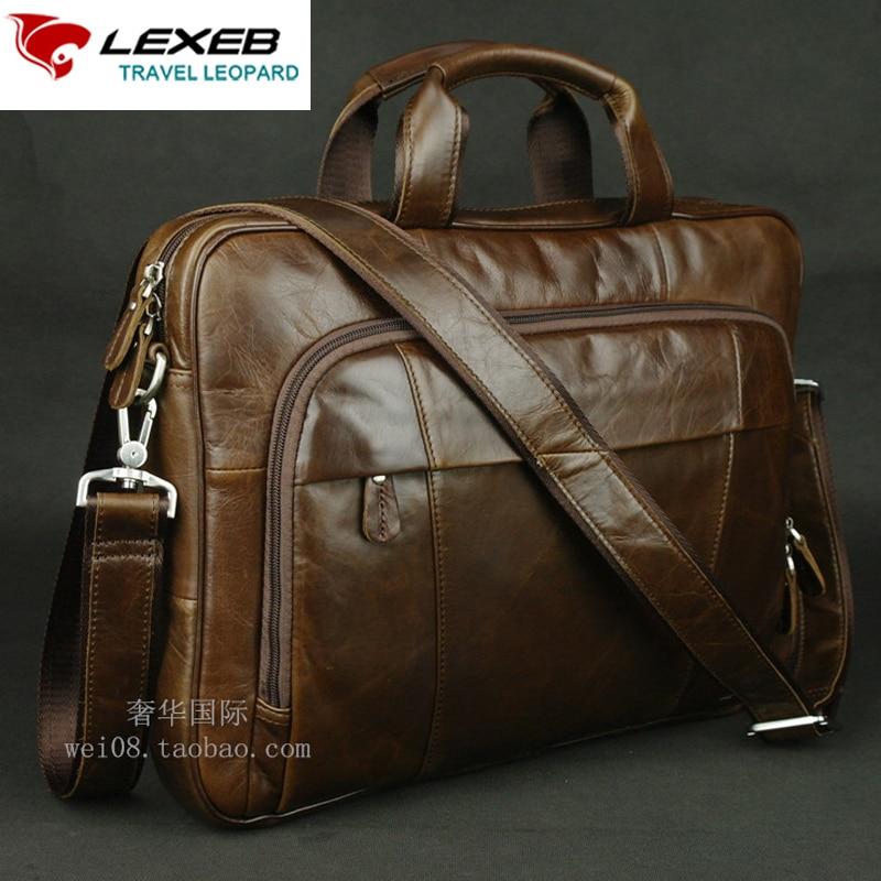 ef8cfb507bf97 Męskie teczki z kawą LEXEB Men Business Skórzane torby na laptopa ...