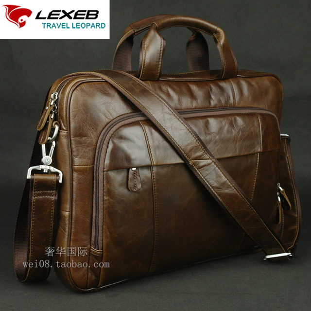 1a306f944 LEXEB Office Bags For Men 15.6 Leather Bag For Laptop Full Grain Cow Leather  Men s Briefcase High Quality Casual In Coffee