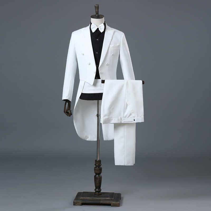 Англия джентльмен из двух частей Черный Белый Жених Дешевые Свадебные смокинги костюмы для мужчин Классический Фрак с брюками Slim Fit