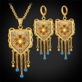 Indian Jewelry Earing And Necklace Set Trendy Gold Plated Vintage Tassel Drop Earrings Jewelry Sets For Women PE893