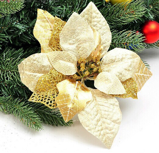 three layer christmas flower purple black white silver gold red blue orange color christmas tree decoration in artificial dried flowers from home garden - Orange Coloured Christmas Tree Decorations