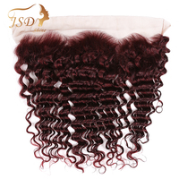 JSDShine 99j Hair Ear to Ear Lace Frontal Closure 13X4 Free Part With Baby Hair Burgundy Brazilian Deep Wave Human Hair Non Remy