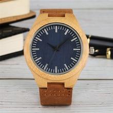 Minimalist Wooden Watch Quartz Mens Watches Natural Bamboo M