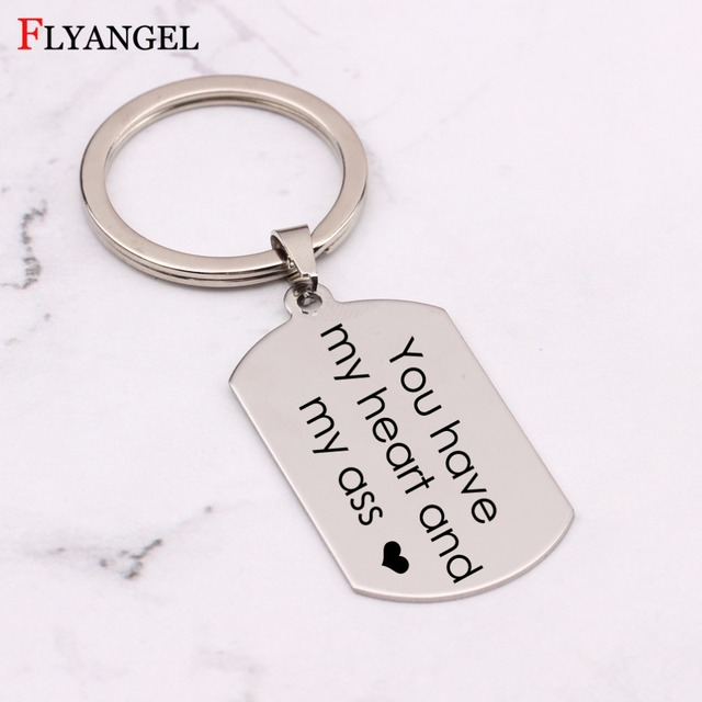 14364e17fe Funny Couple Keychain You have my heart and my ass Heart Key Chain Keyring  Women Men Jewelry Mujer Gift for Boyfriend Girlfriend