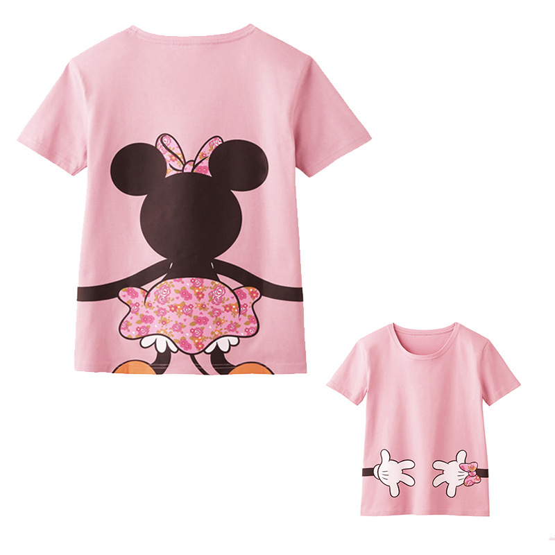 2017 Family T shirt Mom and Daughter Matching Clothes Minnie Character Shirt Family Clothing Mother Girl Son Wear   gabesy baby carrier ergonomic carrier backpack hipseat