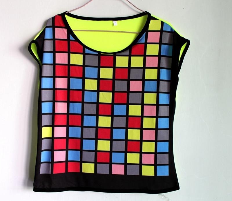 Noi femei de moda Chip hip hop de top dans de sex feminin Jazz Ds costum de performanță purta colorate carouri scurte mânecă t shirt