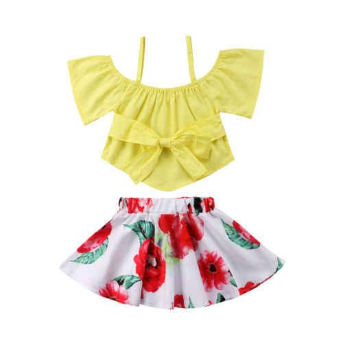 bc12febe8658 Summer Toddler Kids Girls Princess Bowkont Strap Sunsuit Clothing 2Pcs Baby  Girl Crop Tops Floral Skirts