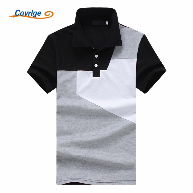 Covrlge Men   Polo   Shirt Men Business Black and White Stitching Solid Male   Polo   Shirt Short Sleeve Breathable   Polo   Shirt MTP061