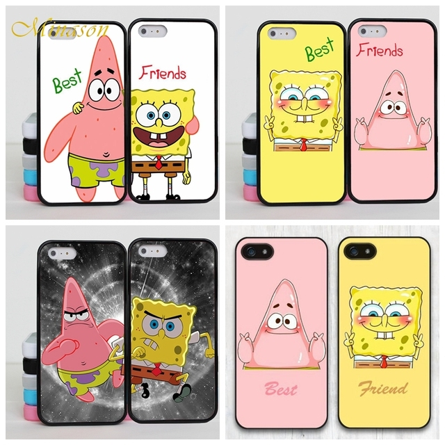 finest selection 07c54 f5214 US $1.99 35% OFF|Best Friends BFF Cases For iPhone 6s Case SpongeBob Soft  Silicone Case for iPhone X 7 5 5S SE 6 8 plus Cover Coque Funda-in ...