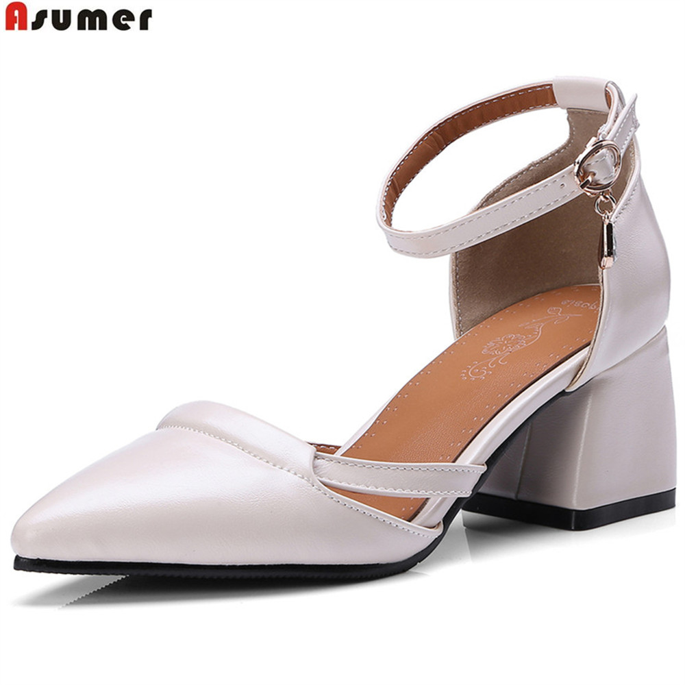 ASUMER black beige pointed toe buckle square heel spring autumn shoes woman pumps elegant ladies high heels shoes size 33-46 creativesugar elegant pointed toe woman