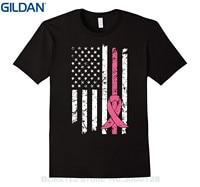 GILDAN Brand 2017 New T Shirt Man Cotton Breast Cancer Awareness T-shirt American Flag Distressed Tee