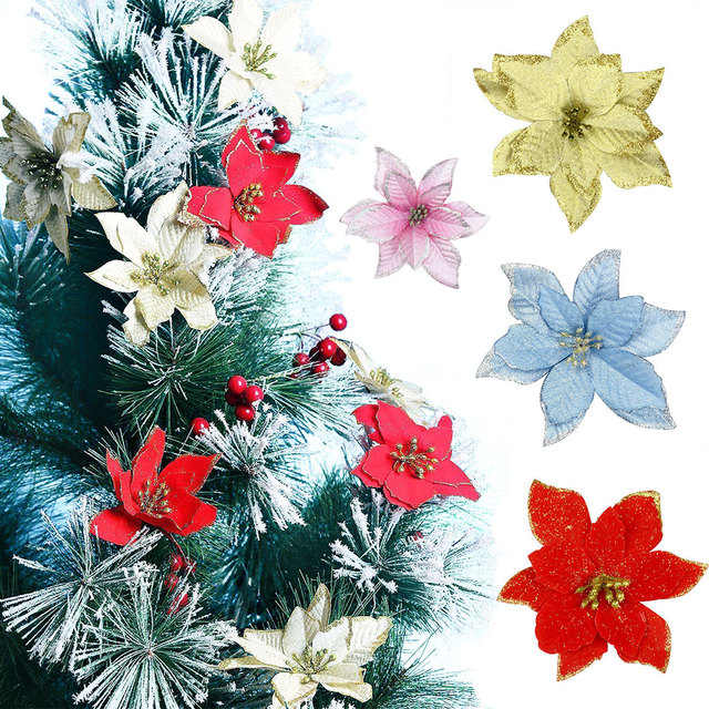 zljq 18 pcs 13cm christmas tree decorative silk flower gold artificial flowers glitter poinsettia