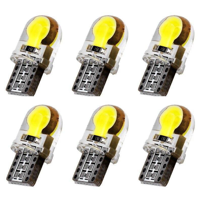 6 X Auto T10 LED W5W LED Bulbs White 194 168 LED Lamp 501 COB silicone shell Car LED Lights Super Bright Turn Side Lamp DC12V