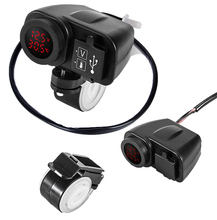 12V 4.2A Motorcycle Dual USB Charger 2.1A+2.1A To 5V with Voltmeter LED Display Sockets Moto