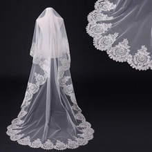 2019 Cathedra Lace Wedding Veil 3*3 Meter Bride Edge One Layer Bridal With Combe Accessories