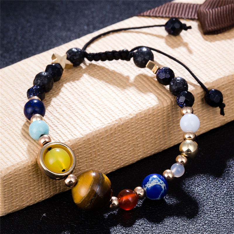 Natural Stone Beads Bracelet Bangle Universe Galaxy the Eight Planets in the Solar System Guardian Star for Women/Men Gift