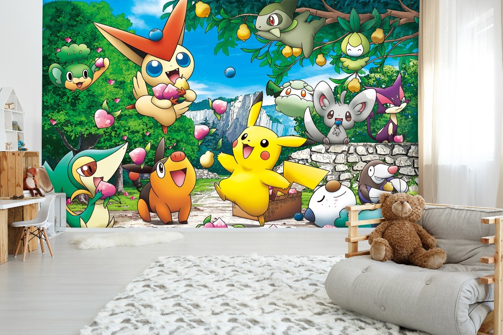 [Self-Adhesive] 3D Pokemon Pikachu Animation 44  Japan Anime Wall Paper Mural Wall Print Decal Wall Murals