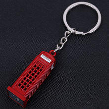 London Red Telephone Booth Bus Mail Box Taxi Big Ben Model Small Keychain Souvenir Gift(China)