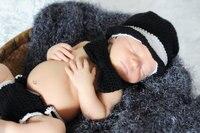 Crochet Baby Tuxedo Top Hat Bow Tie And Diaper Cover Set Newborn Baby Tiny Tux Baby
