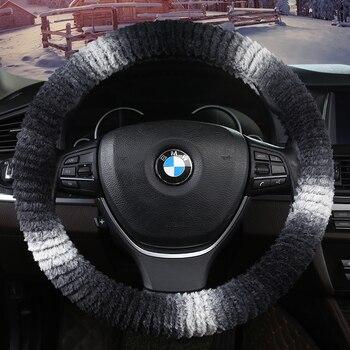 kkysyelva warm bont auto stuurhoes winter wollen interieur accessoires 38 cm wol auto stuurwiel covers
